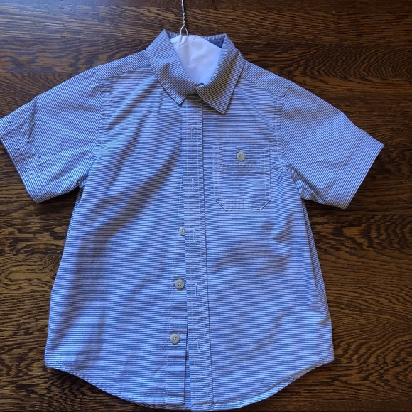 NWT Crazy 8 Blue Striped Boys Long Sleeve Button Down Shirt 2T 3T 4T 5T